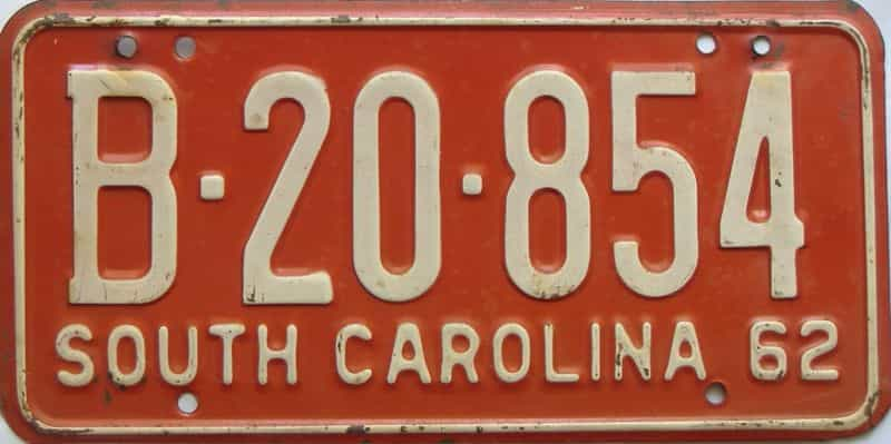 1962 South Carolina  (Single) license plate for sale