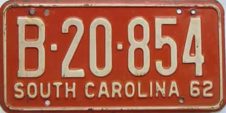 1962 South Carolina  (Single) license plate for sale