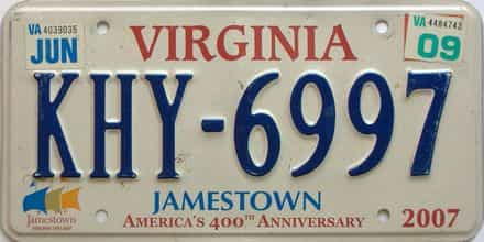 2009 Virginia  (Single) license plate for sale
