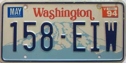 1994 Washington  (Single) license plate for sale
