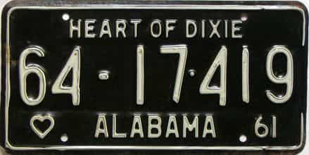 1961 Alabama license plate for sale