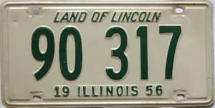 1956 Illinois  (Single) license plate for sale
