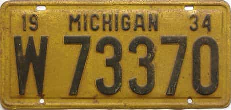 1934 Michigan  (Single) license plate for sale