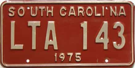 1975 South Carolina  (Single) license plate for sale