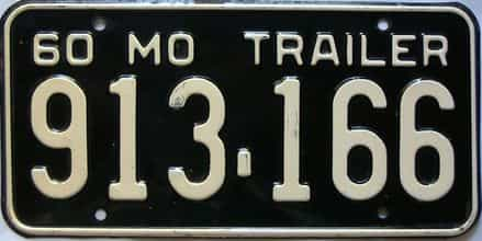 1960 Missouri  (Trailer) license plate for sale