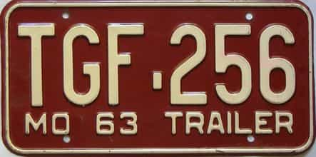 1963 Missouri  (Trailer) license plate for sale