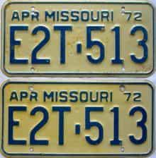 1972 Missouri (Pair) license plate for sale