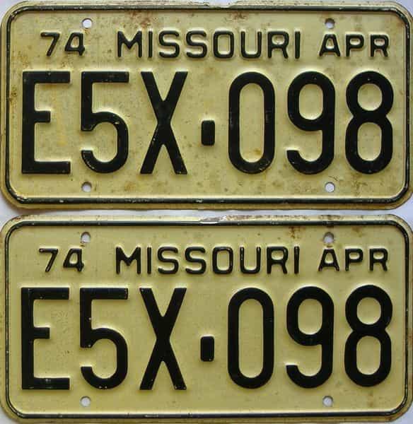 1974 Missouri  (Pair) license plate for sale