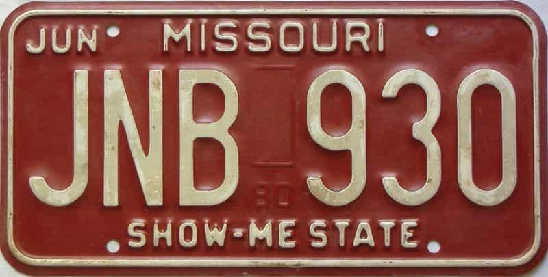 1980 Missouri  (Single) license plate for sale