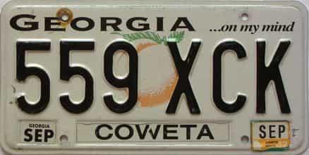 2012 Georgia Counties (Coweta) license plate for sale