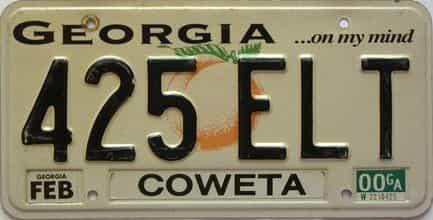 2000 Georgia Counties (Coweta) license plate for sale