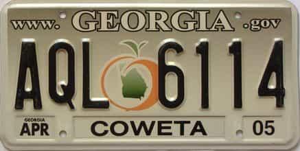 2005 Georgia Counties (Coweta) license plate for sale