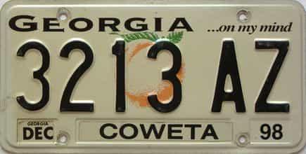 1998 Georgia Counties (Coweta) license plate for sale