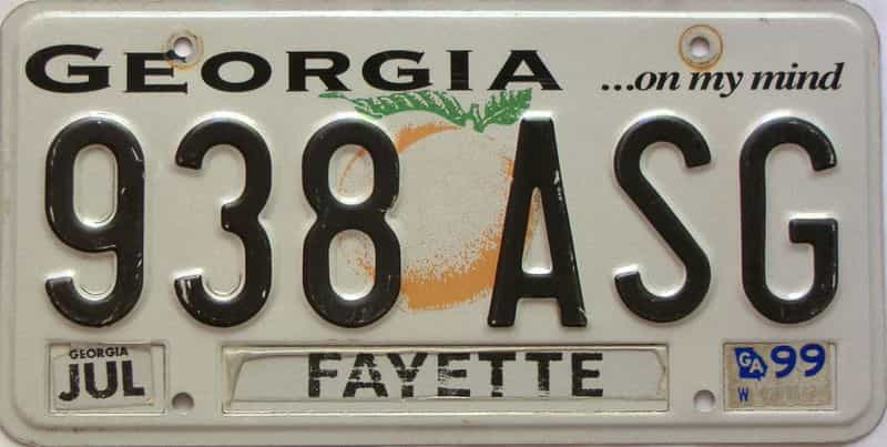1999 Georgia Counties (Fayette) license plate for sale