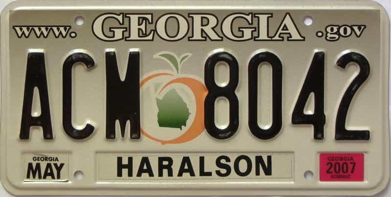 2007 Georgia Counties (Haralson) license plate for sale