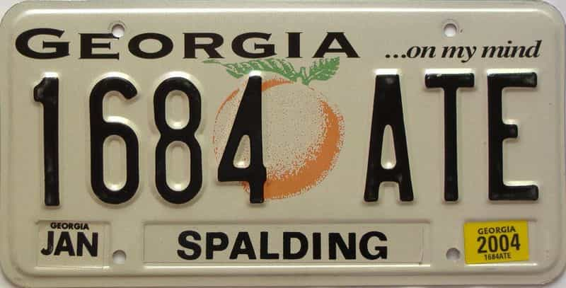 2004 Georgia Counties (Spalding) license plate for sale