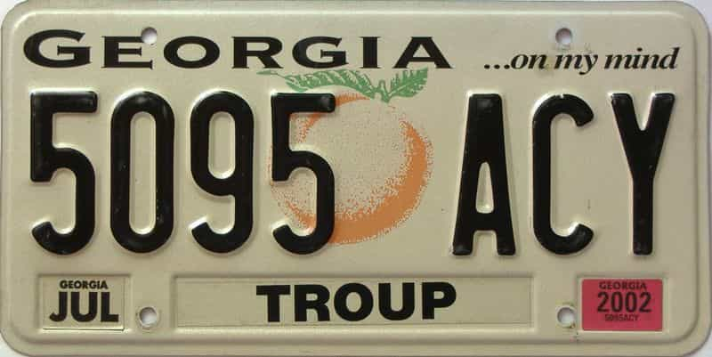 2002 Georgia Counties (Troup) license plate for sale
