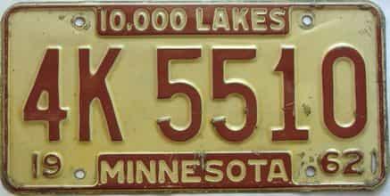1962 Minnesota  (Single) license plate for sale
