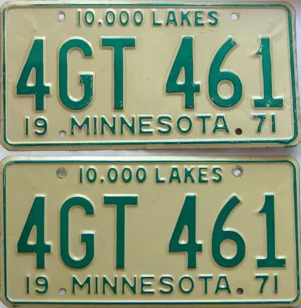 1971 Minnesota  (Pair) license plate for sale