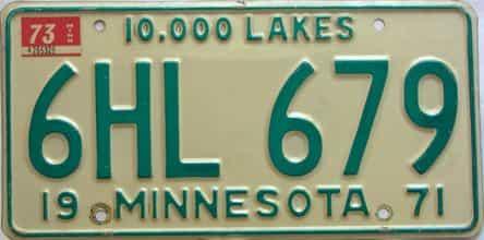 1973 Minnesota  (Single) license plate for sale