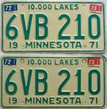 1973 Minnesota  (Pair) license plate for sale