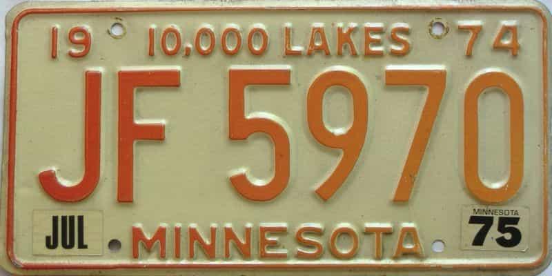 1975 Minnesota  (Single) license plate for sale