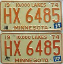 1977 Minnesota  (Pair) license plate for sale