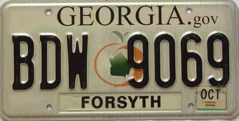 2013 Georgia Counties (Forsyth) license plate for sale