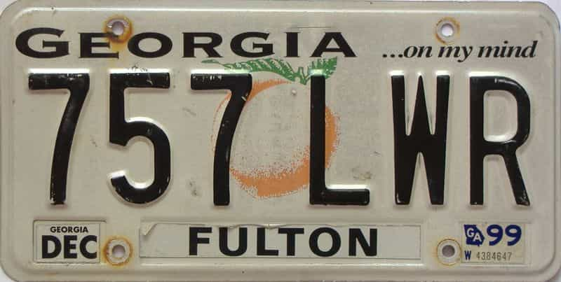 1999 Georgia Counties (Fulton) license plate for sale