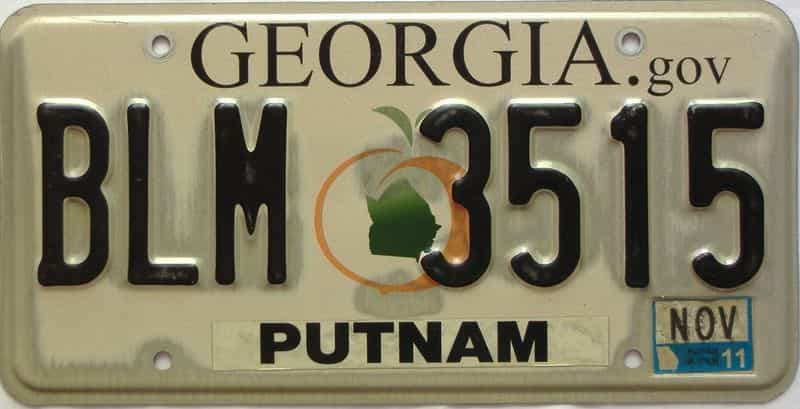 2011 Georgia Counties (Putnam) license plate for sale