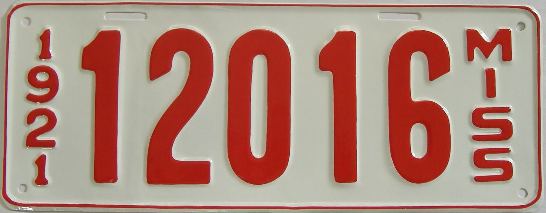 RESTORED 1921 Mississippi (Single) license plate for sale