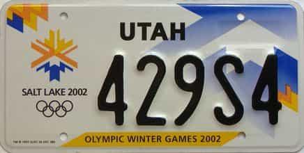 2002 Utah  (Single) license plate for sale