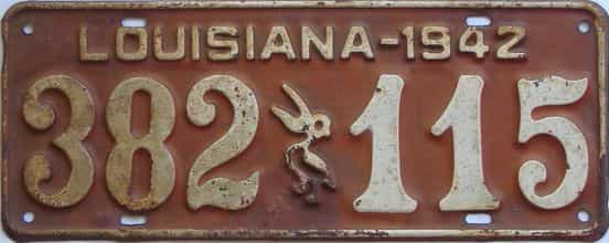 1942 Louisiana license plate for sale