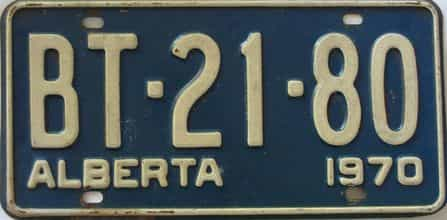 1970 Alberta  (Single) license plate for sale