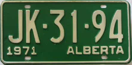 1971 Alberta  (Single) license plate for sale