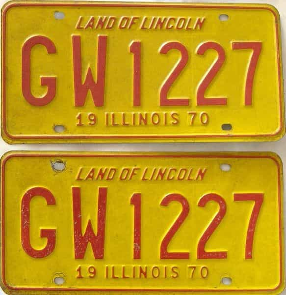 1970 Illinois  (Pair) license plate for sale