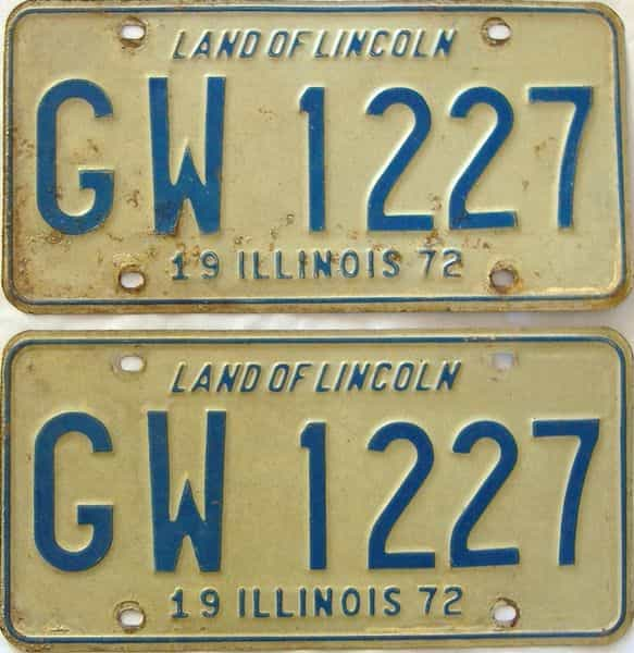 1972 Illinois  (Pair) license plate for sale