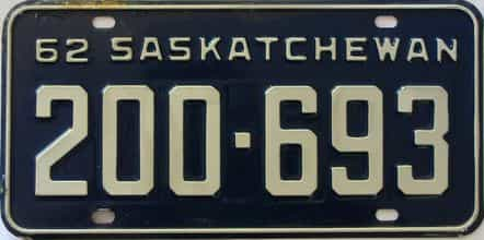 1962 Saskatchewan  (Single) license plate for sale