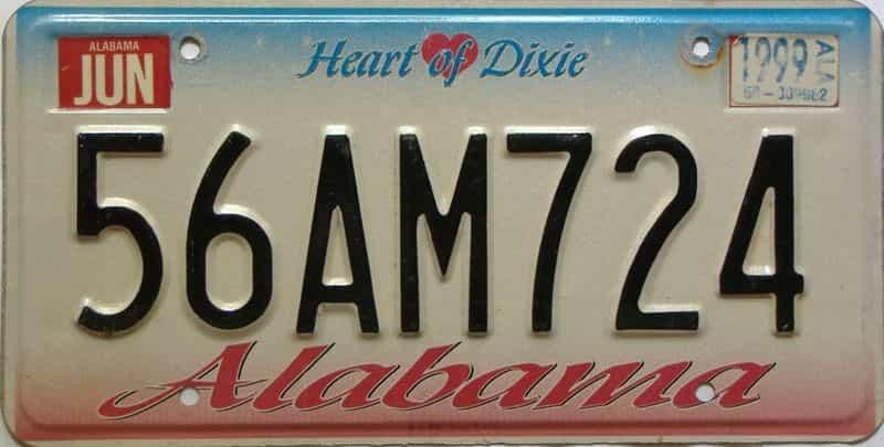 1999 Alabama license plate for sale