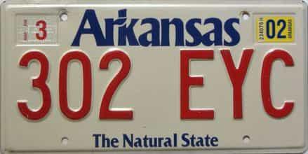 2002 Arkansas license plate for sale