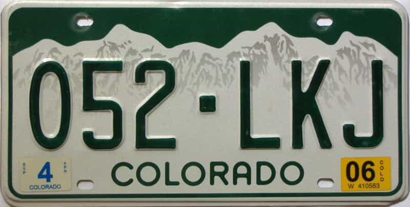 2006 Colorado  (Single) license plate for sale