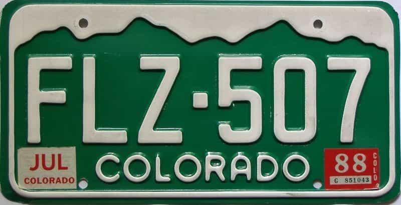 1988 Colorado  (Single) license plate for sale