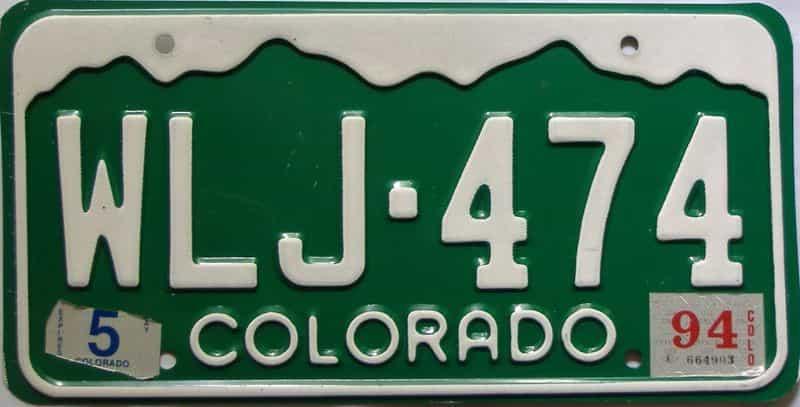 1994 Colorado  (Single) license plate for sale
