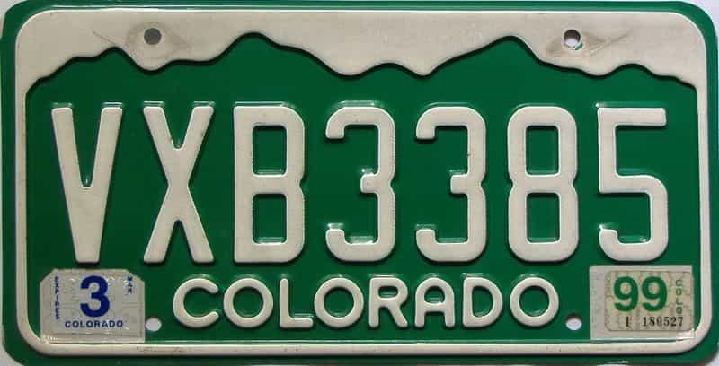 1999 Colorado  (Single) license plate for sale