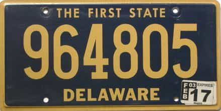 2017 Delaware license plate for sale