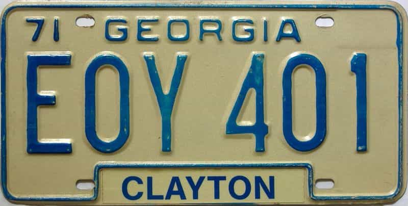 YOM 1971 Georgia YOM 1971 - 1989 license plate for sale
