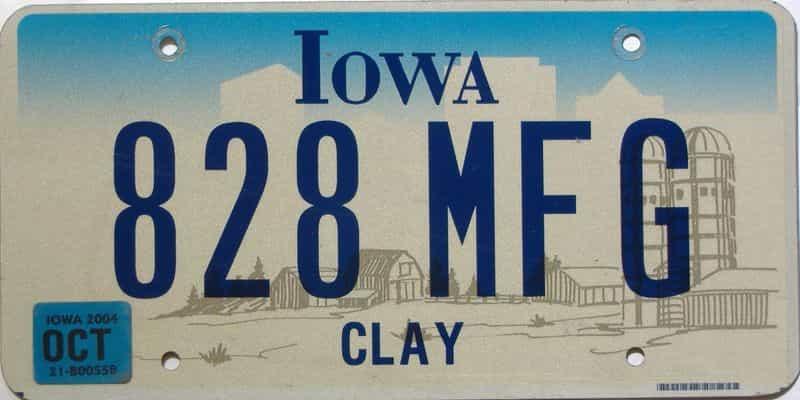 2004 Iowa  (Single) license plate for sale