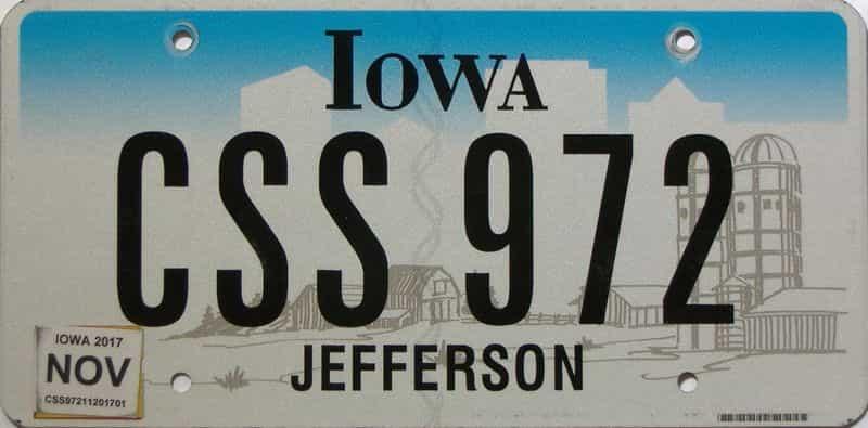 2017 Iowa  (Single) license plate for sale