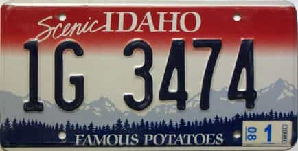 2008 Idaho  (Single) license plate for sale