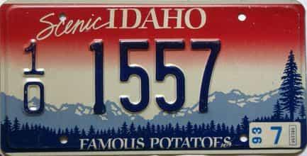 1993 Idaho  (Single) license plate for sale